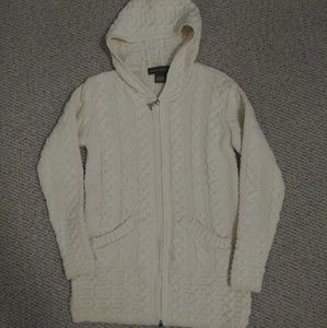 Inis Crafts 100% Merino Wool Cable Knit Hoodie